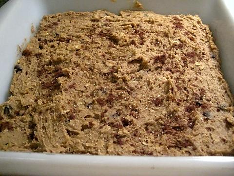 spread, sprinkled, ready to bake
