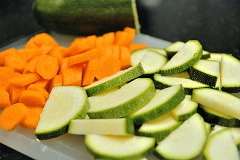 carrots in rings, zucchini in half-slices
