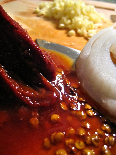 Chiles, onion, garlic