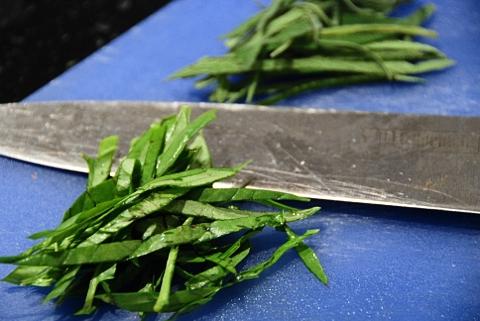 daintily chiffonade the herbs