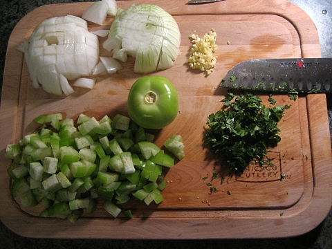 all your veggies and aromatics, chopped up