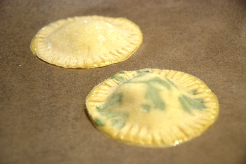 ravioli, ready for boiling (notice the parsley leaf laid into the dough)