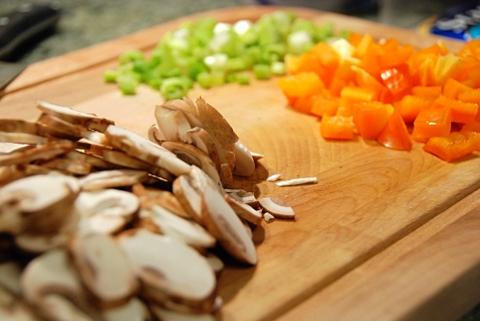 mushrooms and scallions
