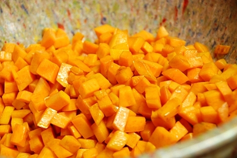 sweet potatoes cooked and removed from heat