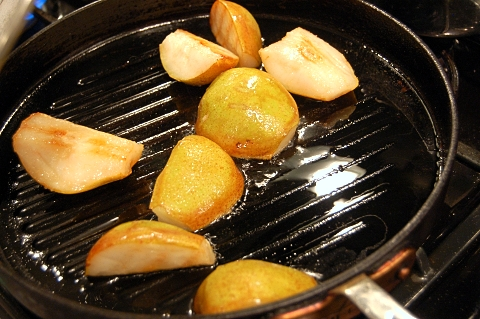 grilled pears just about done