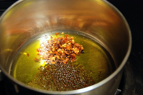 sadly we had no cumin seeds so you'll only see mustard seeds and red pepper flakes here