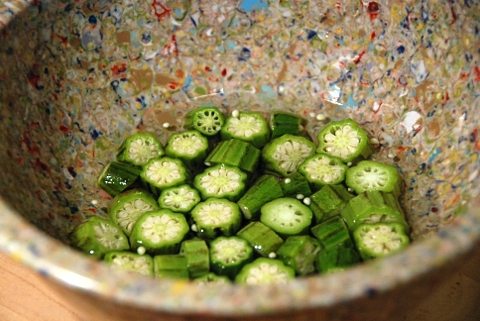 soaking the okra