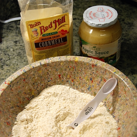 the two magic ingredients in the background: cornmeal & applesauce