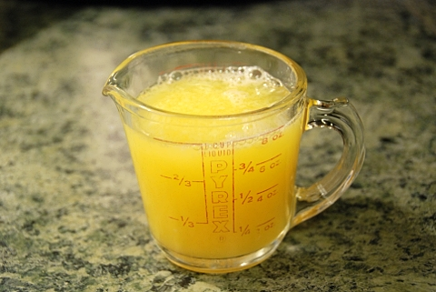 orange juice and water, measured for the couscous