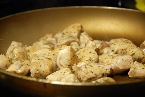 chicken pieces cooking