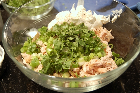mix up the chicken filling